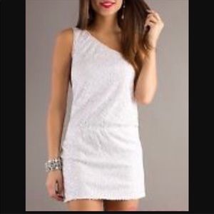 Max and Cleo One Shoulder White Sequin Dress